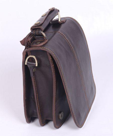 کیف رو دوشی مردانه چرم طبیعی قهوهای